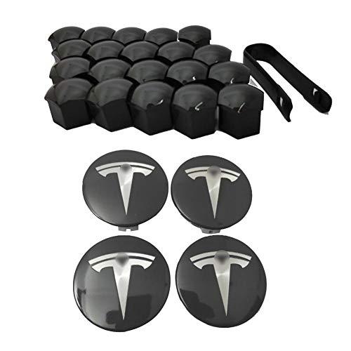 hinffinity Aero Radkappen-Set für Tesla Model X S 3 Radnaben-Kit (4 Nabendeckel + 20 Ohrmutterabdeckung) (weiß)