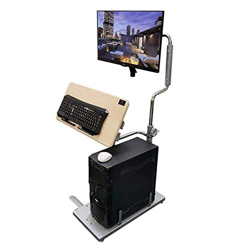 N/Z Home Equipment Bedside Desktop Computer Desk Home Foldable Mobile Lifting Mobile Support Computer Desk with Wheels (Assembly) Home Accessories