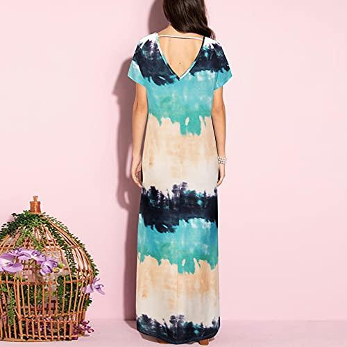 Primavera Y Verano Moda para Mujer Casual con Cuello En V Estampado Suelto Dobladillo Largo Hendidura Vestido De Manga Corta Mujer