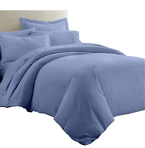 Royal Tradition Solid Bamboo Viscose 7PC Queen Size Bedding Set-Duvet Cover and Shams with Bed Sheets, Periwinkle