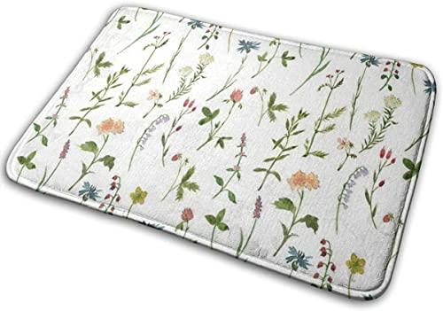 Alfombrilla de baño para acuarelas y hierbas de espuma viscoelástica antideslizante suave absorbente alfombra de baño de goma para suelos de cocina y baño, color blanco