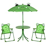 Outsunny Set Tavolo da Giardino con 2 Sedie Pieghevoli e Ombrellone per Bambini in Metallo e Poliestere, Verde