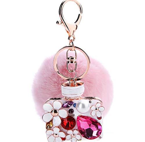 Sleutelhanger pluche bal tas hanger strass bommel Keychain Elegant pluche bal auto hanger pompom zacht sleutelring met strass parfum fles bloemen (roze)