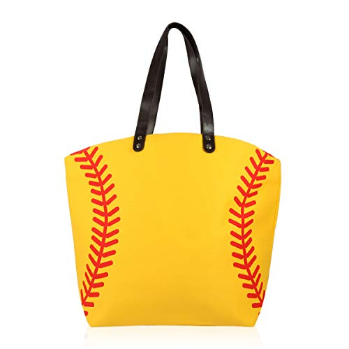 Sports Game Team Large Fabric Tote Bag - Basketball, Softball, Football, Baseball, Varsity Gym Shoulder Handbag (Softball)