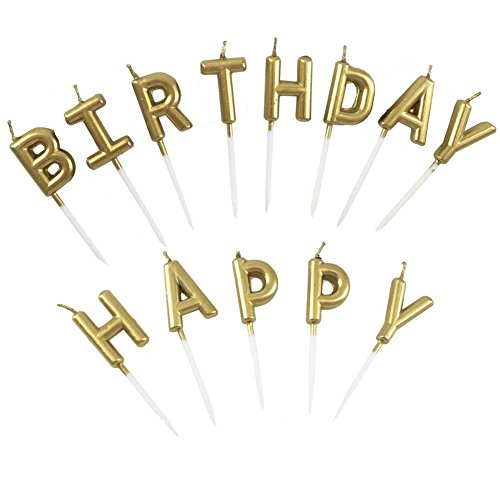 Unique Gold Birthday Letter Cake Candles - Funny Birthday Candles Letters - Birthday Candles, Happy...