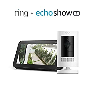 Ring Stick up Camera Battery - White with Echo Show 5 - Charcoal