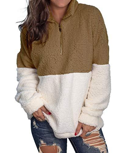kenoce Damen Pullover Herbst Winter Hoodie Flauschige Sweatshirt Oberteil Mode Langarmshirt Teddy-Fleece Mantel Tops Ohne Kapuze(Größe:S- Bis -2XL) A-Kaffee EU38/Etikettgröße M