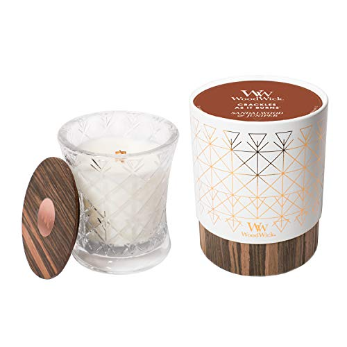 WoodWick Aura Sandalwood & Juniper Scented Wood Wick 9.7 oz. Glass Jar Candle, Sandalwood-Juniper