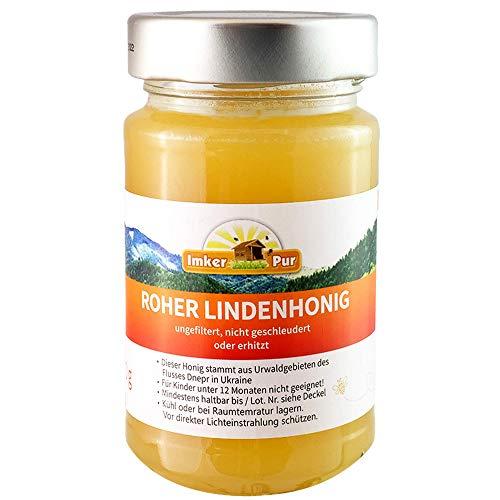 Roher Linden-Honig von ImkerPur, ungefiltert, nicht geschleudert oder erhitzt, enthält Blütenpollen, Bienenwachs, Propolis, Bienenbrot und Gelee Royal (300 g Roher Lindenhonig)