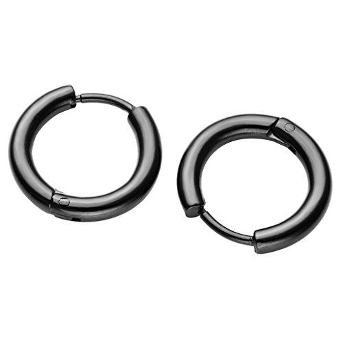 PiercingJ Paar Unisex 8-16mm Edelstahl Hoop Creolen Hinged Huggie Helix Tragus Ohrring Ohrpiercing Silber Gold Schwarz 18G(Schwarz 10mm)