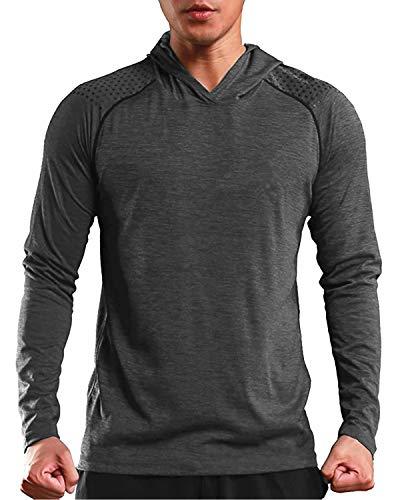MODCHOK Men's Gym Workout Active Muscle Bodybuilding Long Sleeve Hoodies Casual Hooded Sweatshirts Dark Grey M