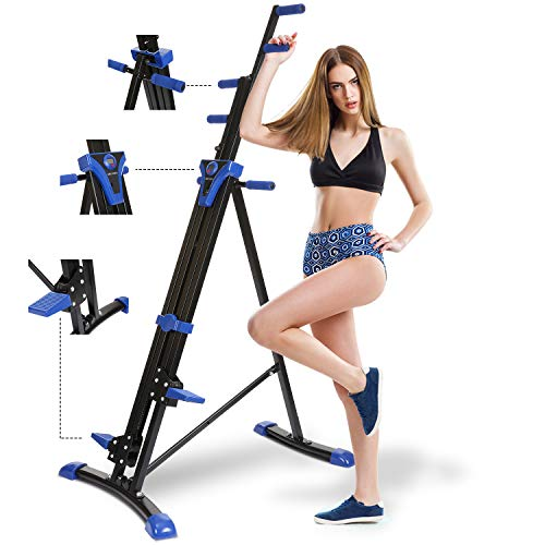 Mauccau Folding Exercise Step Machine & Indoor Vertical Climber - Home Gym, Total Body Workout Vertical Climber Machine,Training Hip Grips Legs Arms Abs Calf (Blue)