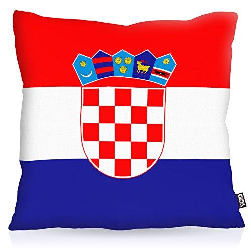 VOID Kroatien Croatia Polyester Kissenbezug Flagge Fahne Fan-Kissen Kissenhülle Outdoor Indoor Bunt, Kissen Größe:40 x 40 cm