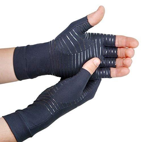 AXspeed Arthritis-Kompressionshandschuhe, fingerlose Kupfertherapie-Handschuhe, lindert Gelenkerkrankungen, Raynaud-Krankheit und Karpaltunnelsyndrom, (M)