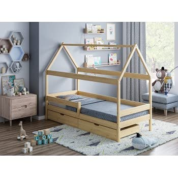 Children's Beds Home - Betthimmel in Hausform Einzelbett – Teddy – 160 x 80 cm, Natur, zwei kleine, 12 cm hohe Widerstandsfähigkeit Latex