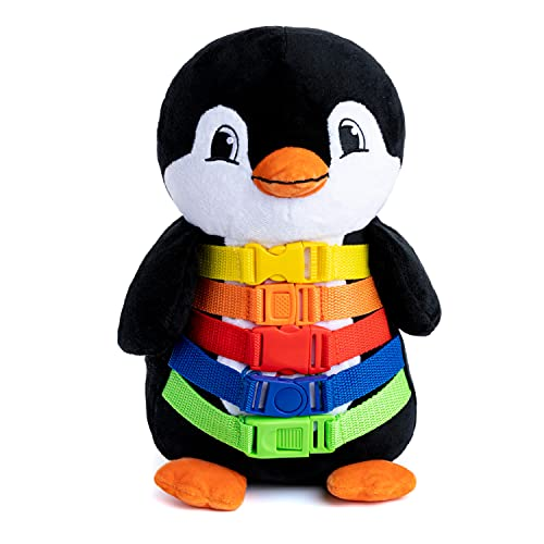 Buckle Toy - Blizzard Penguin Stuffed Animal - Montessori Learning Activity Toy - Develop Motor Skills and Problem Solving - Counting and Color Recognition