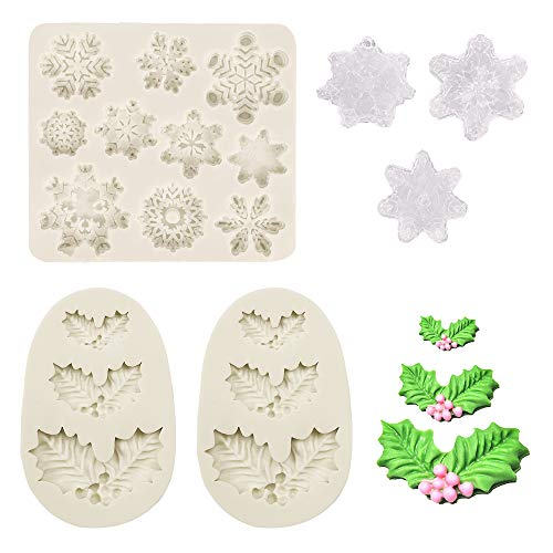3 Pcs/set Christmas Fondant Molds Holly Leaves Silicone Mold Snowflake Mold for Chocolate Candy Sugar Dessert Cake Cupcake Decorations DIY Baking Tool