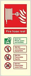 Brilla en la oscuridad Fire carrete de manguera contra incendios extintor ID señal 80mm x 200mm–plástico rígido (PP. 562N-rp)