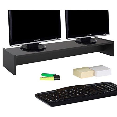 CARO-Möbel Monitorständer Zoom für 2 Monitore Bildschirmerhöhung Schreibtischaufsatz Tischaufsatz 100 x 15 x 27 cm in schwarz