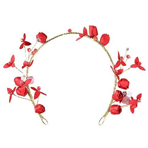 Lurrose Pelo de Novia Vid Rojo Rhinestone Floral Cristal Boda Tiara Corona...