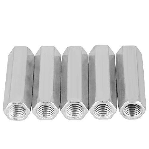 5pcs Tuerca de varilla larga Tuerca hexagonal de acero al carbono Tuercas de acoplamiento hexagonal Tuerca Standoff M10 Sujetadores roscados(M10*50)
