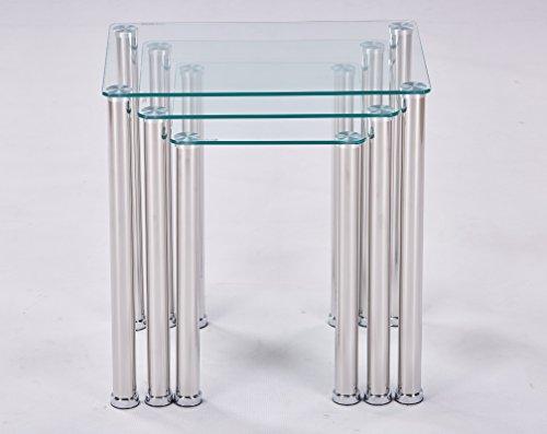 Euro Tische 3er Set Couchtisch Glas mit Sicherheitsglas - Glastisch perfekt geeignet als Beistelltisch/Wohnzimmertisch in 3 (Klar Glas)
