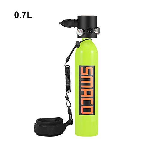 WOTR Tauchen Tankausrüstung, 0.7L Mini Scuba Tauchflaschen mit 5-10 Minuten Capability, Korrosion und Druck-beständiges Material mit nachfüllbar Entwurf,Gelb