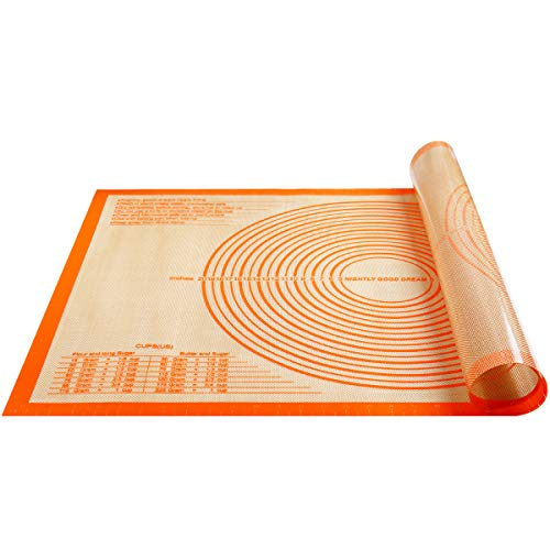 Non-slip Silicone Pastry Mat Extra Large with Measurements 36'' By 24'' for Kneading Mat, Counter Mat,Dough Rolling Mat,Oven Liner,Fondant/Pie Crust Mat, Baking Supplies for Cake Cookies Pizza