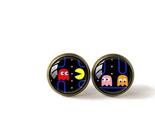 Pendientes de cristal hechos a mano, estilo retro, diseño de cúpula de Pac-Man
