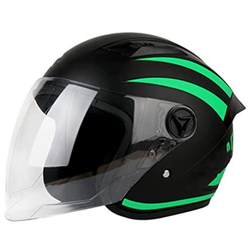 YTBLF Medio Casco Integral con Parasol, Casco De Motocicleta De Doble Deporte, Bicicleta Todoterreno, Unisex para Adultos, Cascos Jet para Scooter, Verde