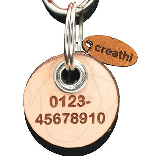 Creative Things (by Anja Betz) Anhänger fürs Halsband rund (Kreis) naturfarben ECHTES Leder! ohne geklimper! personalisiert! (Hundemarke/Katzenmarke) von creathi (Mini)