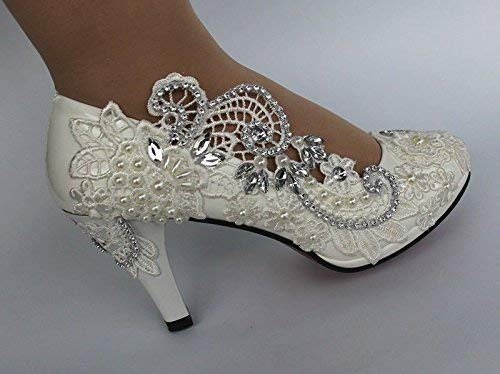 Ansulen White lace wedding shoes bridal