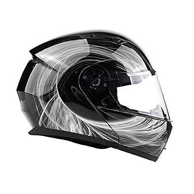 Typhoon TH158 Adult Modular Motorcycle Helmet DOT Dual Visor Full Face Flip-up - Black White Small by Typhoon Helmets