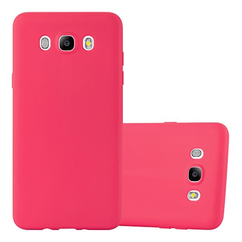 Cadorabo Hülle für Samsung Galaxy J7 2016 in Candy ROT - Handyhülle aus flexiblem TPU Silikon - Silikonhülle Schutzhülle Ultra Slim Soft Back Cover Case Bumper