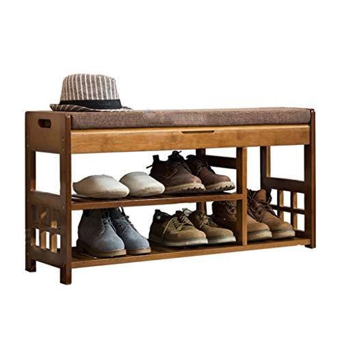 LHY- Massief houten eenvoudige schoenenrek Multifunctionele schoen bank aan de deur Economische schoenenkast Winkel (Size : 90cm)