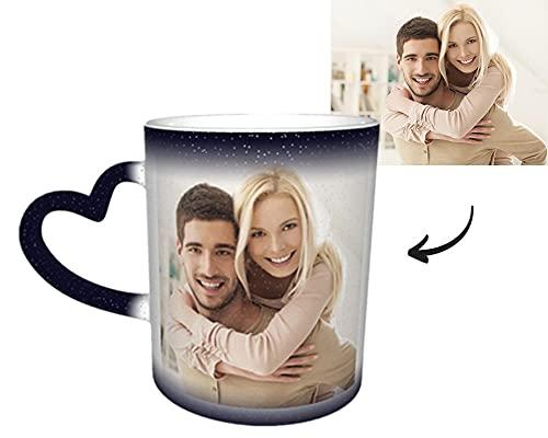 Tazas Personalizadas, Taza Magica con Foto y Texto Termica Regalos Originales y Divertidos de Aniversario para Novios Enamorados Pareja