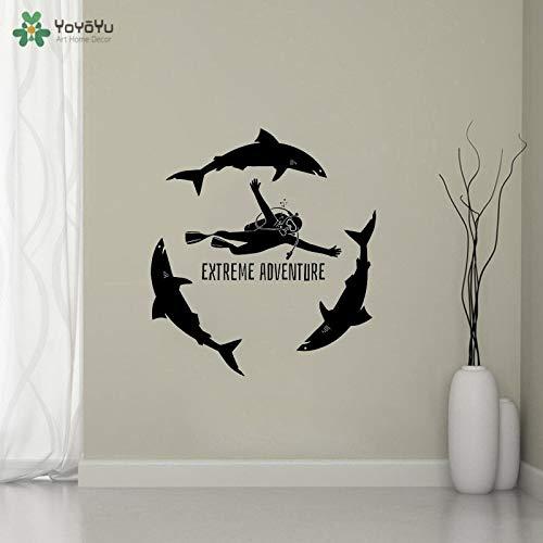 Ajcwhml Tauchen Extreme Dive Sports Meer Ozean Haie Für Aquarium Spezielle GiftArt Vinyl Frauen Schlafzimmer Dekor Wandaufkleber 57x63cm