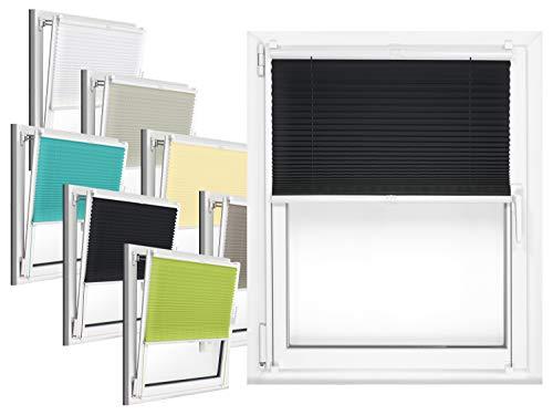 npluseins Plissee - vormontiert und mit Klemmfixierung am Fensterahmen - kinderleichte 3-Step Montage, ca. 75 x 130 cm, schwarz