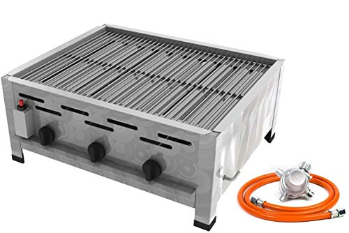 Gastro Edelstahl Gasbräter 3 flammig 13,5 KW mit Grillrost f. Propangas + Gasschlauch Gewerberegler + SBS (Kocher - Wurstbräter, Gasgrill Gastrokocher, Gasherd, Bräter, Grill)