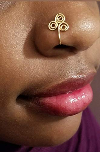 Celtic Spiral Nose Ring Fake - Gypsy Nose Cuff - Bohemian Nose Jewelry - Egyptian Symbol Nose Ring - Symbol # 3