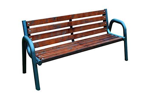 Banc Primario pour jardin, parc, village, communauté, massif et robuste, bois, acier, design moderne (100 cm, 125 cm, 150 cm, 175 cm, 200 cm) (150 cm)