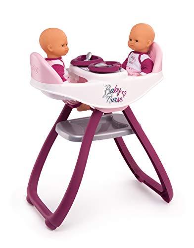 Smoby 220344 - Baby Nurse Zwillingspuppen-Hochstuhl – Puppenstuhl für Zwillinge mit Teller und Löffel, Puppen-Zubehör für Puppen bis 42 cm, für Kinder ab 18 Monaten, rosa, lila