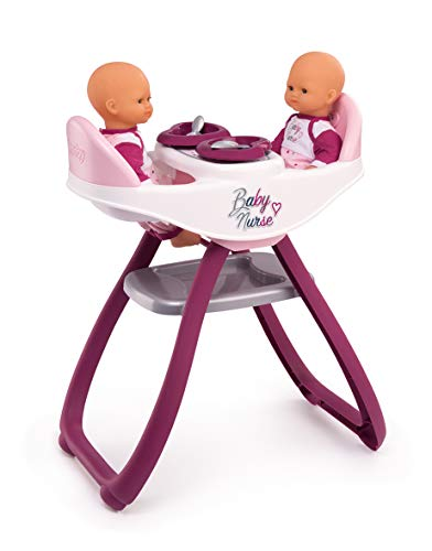 Smoby 220344 Baby Nurse Twin-Shaped High Chair with Rocking Function and 4 Accessories Included