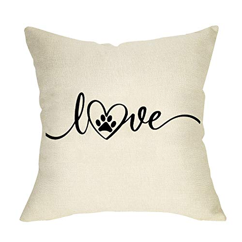 Softxpp Dog Paw Throw Pillow Cover Love Heart, Decorative Pet Pillow Case Decor for Dog Lover Gift, Farmhouse Square Cushion Cover Rustic Home Decorations for Sofa Couch 18'' x 18'' Cotton Linen