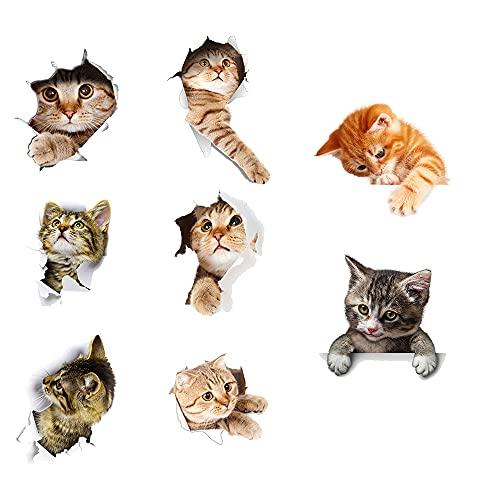 Kaimeilai Cats pegatinas de pared, 8 piezas de combinación de pegatinas de pared de gato lindo, combinación de pegatinas de pared de gatos 3D, pegatinas de nevera, pegatinas de puerta para baño