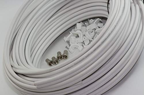 Webro WF100 Twin Satellite Cable With 4 x F Plugs, Free Cable Clips (30M, White)