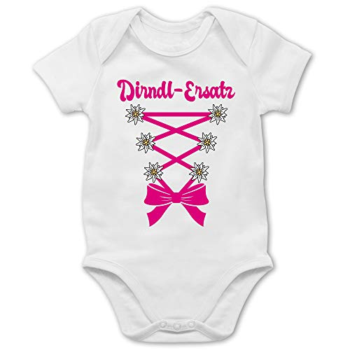 Shirtracer Oktoberfest Baby - Dirndl-Ersatz Korsage - Fuchsia - 6/12 Monate - Weiß - Statement - BZ10 - Baby Body Kurzarm für Jungen und Mädchen