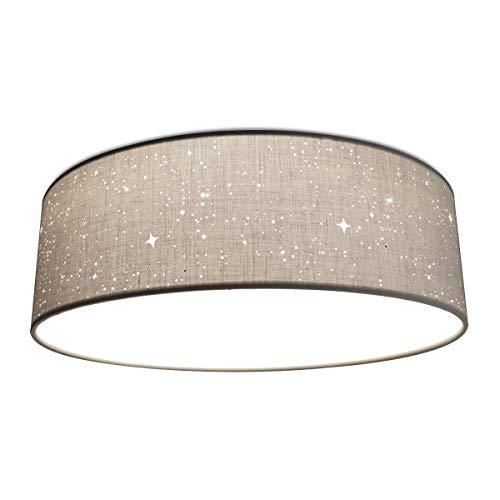 Navaris LED Deckenleuchte rund mit Sterneneffekt - warmweiß - 22 Watt - 14 x 40 x 40cm - Design Stoff Deckenlampe Hellgrau mit Montagematerial
