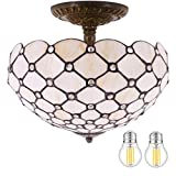 Tiffany Ceiling Fixture Light W12H11 Inch(LED Bulb Included)Semi Flush Mount Amber Stained Glass Crystal Pear Bead Shade S005 WERFACTORY Lamp Office Cafe Entry Kitchen Hallway Living Dining Room Loft