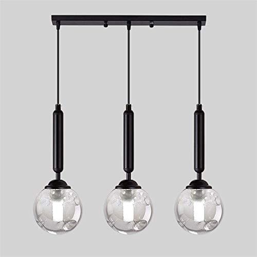 HMKJ Luz del colgante de techo retro industrial con una cubierta de luz de cristal de 3 cabezas, araña de frijoles mágicos, accesorio de la lámpara colgante for la isla de la cocina, salas, comedores